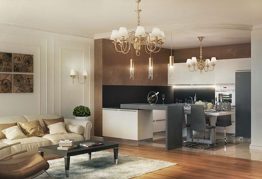 Дизайн интерьера кухня-гостиная